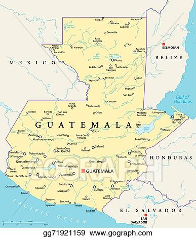 Vector Art Guatemala Political Map Clipart Drawing Gg - Political map of guatemala