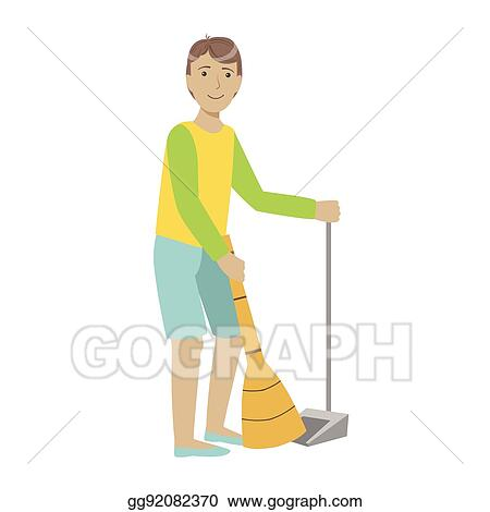 Vector Stock Guy With Broom And Duster Sweeping The Floor