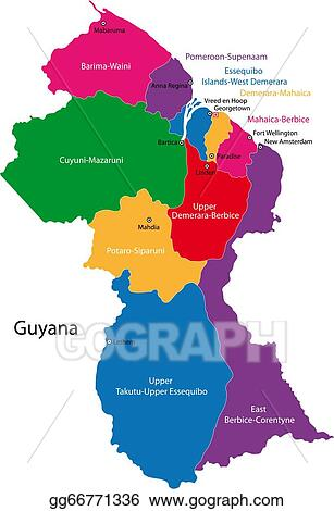 Where Is Guyana Located On The World Map.Vector Clipart Guyana Map Vector Illustration Gg66771336 Gograph