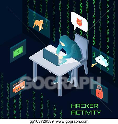 eps illustration hacker activity isometric composition vector clipart gg103729589 gograph gograph