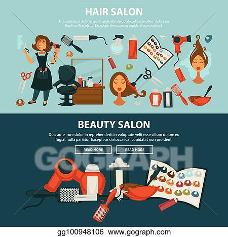 Vector Clipart Hairdresser Beauty Salon Vector Flat Web Banners Of Woman Hair Coloring Styling Equipment Vector Illustration Gg100948106 Gograph