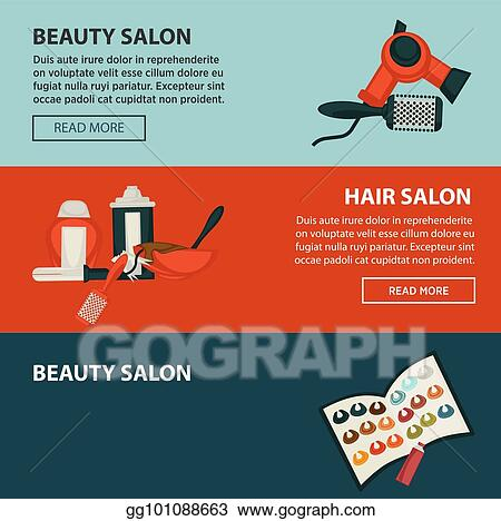 Vector Stock Hairdresser Beauty Salon Web Banners Flat Design Template For Hair Coloring And Perm Styling Stock Clip Art Gg101088663 Gograph
