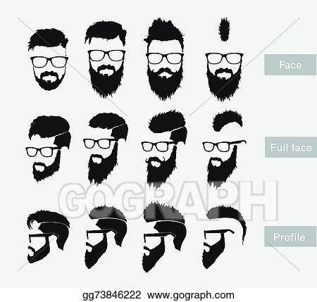 vector art hairstyles with a beard in the face full face and