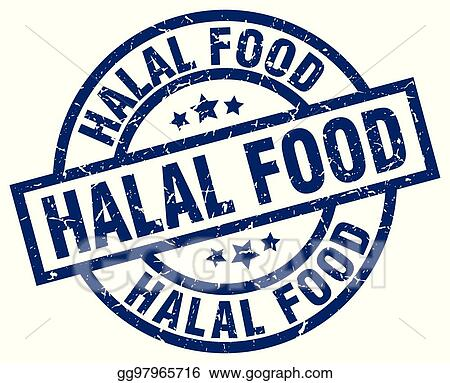 Clip Art Vector - Halal food blue round grunge stamp  Stock EPS