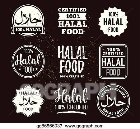 Vector Clipart - Halal food labels vector set  badges design
