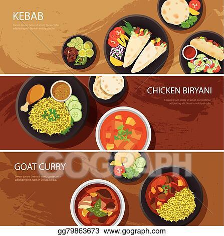 Vector Stock Halal Food Web Banner Flat Design Kebab Chicken