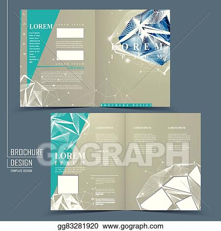 Eps Vector Half Fold Brochure Template With Diamond Element Stock