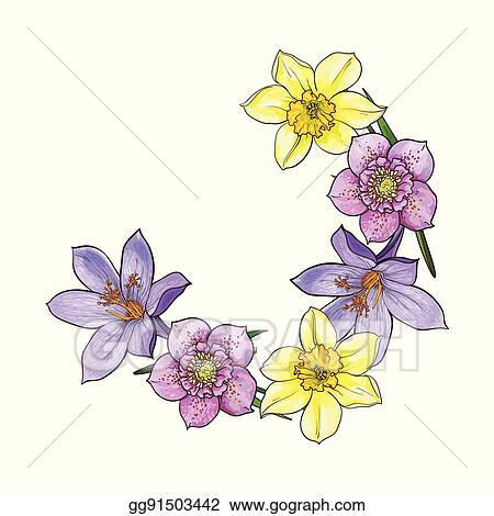 Clip Art Vector Half Frame Of Spring Flowers Decoration Element