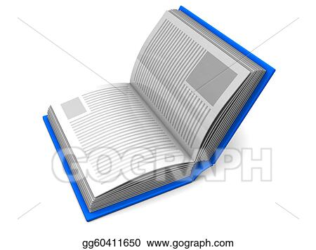 Drawing - Half open book  Clipart Drawing gg60411650 - GoGraph