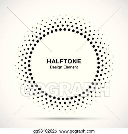 Vector Stock - Halftone vector circle frame dots logo emblem, design ...