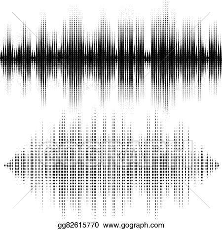 Vector Stock - Halftone vector elements  vector sound waves  music