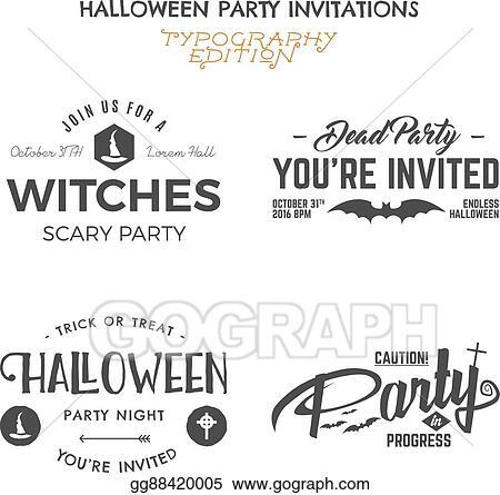 Clip Art Vector Halloween 2016 Party Invitation Label Templates