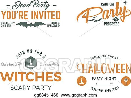 Vector Art Halloween 2016 Party Invitation Label Templates With