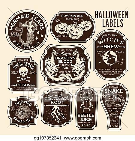 Vector Clipart Halloween Bottle Labels Potion Labels Vector Illustration Vector Illustration Gg107352341 Gograph