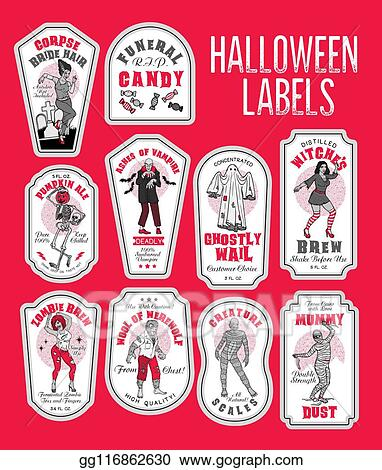 Clip Art Vector Halloween Bottle Labels Potion Labels With Monsters Stock Eps Gg116862630 Gograph