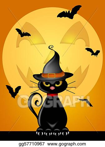 Halloween Cat With Witches Hat By Jack O Lantern Moon