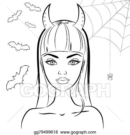 eps vector halloween beautiful witch with horns line drawing of sexy glamorous evil witch with satan horns against bats and spiderweb on the background - Halloween Line Drawings