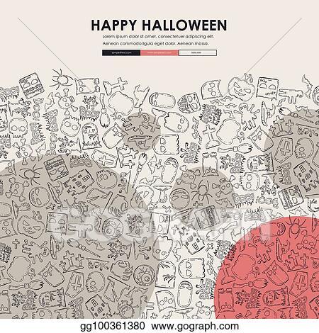 Vector Stock Halloween Doodle Website Template Design Stock Clip