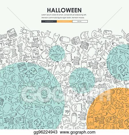 vector stock halloween doodle website template design stock clip