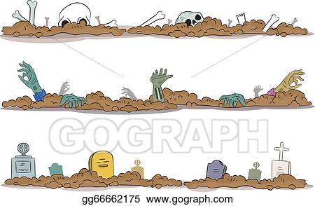 EPS Vector - Halloween graveyard borders. Stock Clipart ...