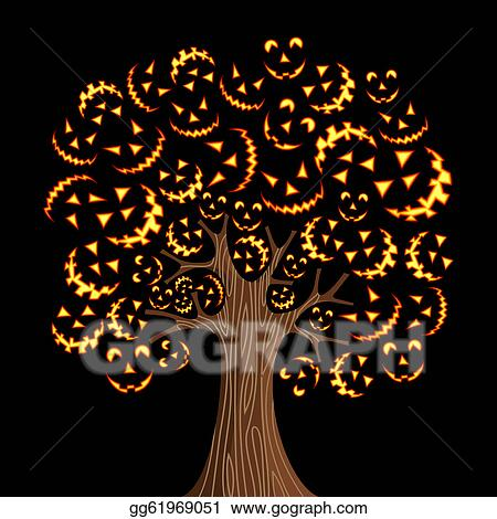 Vector Art Halloween Horror Icons Tree Clipart Drawing