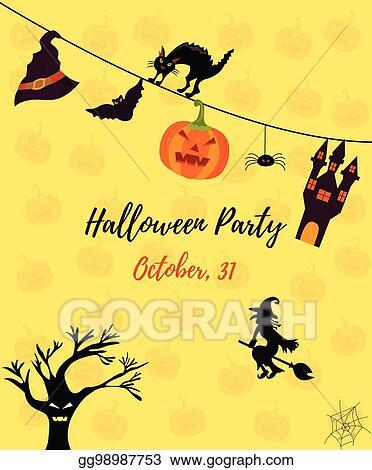 Vector Illustration Halloween Invitation Card With Cat