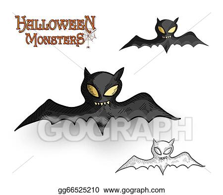 vector illustration halloween monsters spooky vampire bat rh gograph com Syringe Clip Art Happy Halloween Clip Art