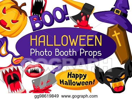 Vector Stock Halloween Photo Booth Props Accessories For Festival