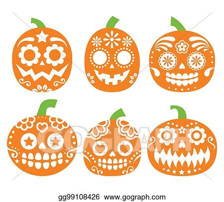 drawing halloween pumpkin vector desgin mexican sugar skull
