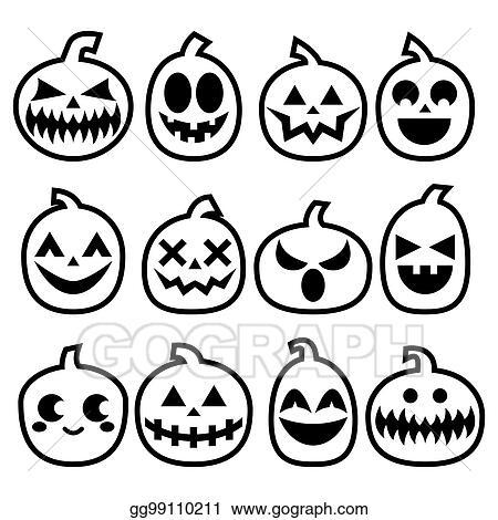 Halloween Pumpkin Drawing.Drawing Halloween Pumpkins Vector Icon Set Halloween