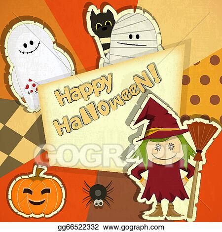 Retro Vintage Halloween Clip Art.Vector Art Halloween Retro Card Clipart Drawing Gg66522332 Gograph