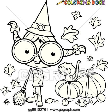 Vector Art - Halloween witch and pumpkins. vector black and ...