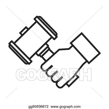 Vector Illustration Hammer Wood Gavel Icon Eps Clipart Gg95936672