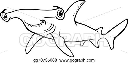 Vector Stock Hammerhead shark coloring book Stock Clip Art