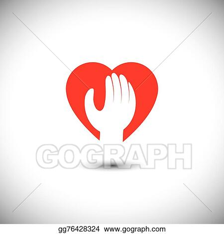 Vector Art Hand And Heart Together Vector Icon For Trust Faith