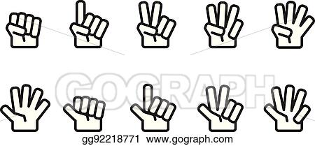 EPS Vector - Hand counting number icons set outline black