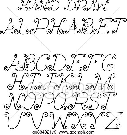 Clip Art Vector Hand Draw Alphabet Letters With Curls Under The