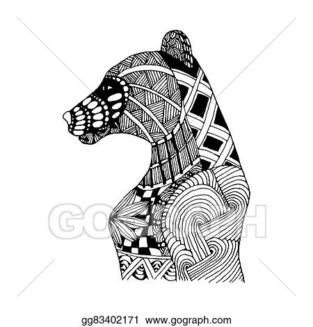 Stock Illustration - Hand draw bear patterns in the style of