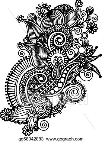 Vector art hand draw black and white line art ornate flower design hand draw black and white line art ornate flower design ukrainian traditional style mightylinksfo