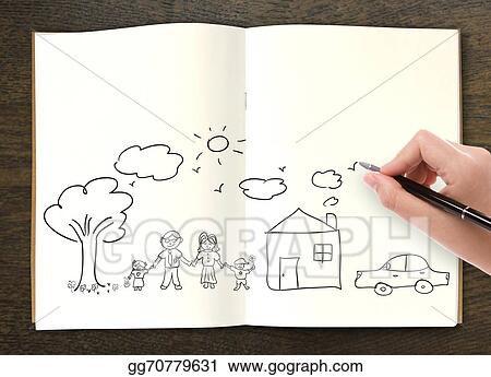 Drawing - Hand draw in open book of lovely family  Clipart