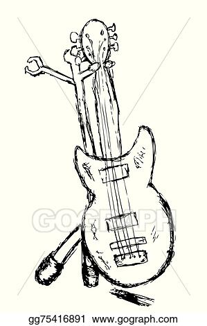 Vector Art Hand Draw Sketch Electric Guitar Eps Clipart