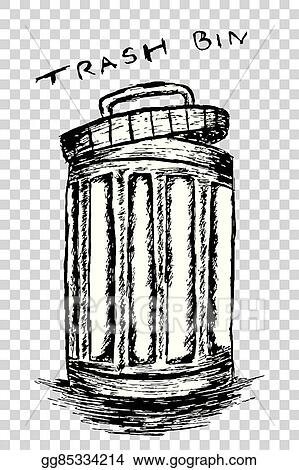 vector art hand draw sketch trash bin clipart drawing gg85334214