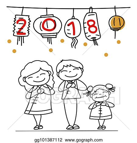 hand drawing cartoon character people happy chinese new year 2018