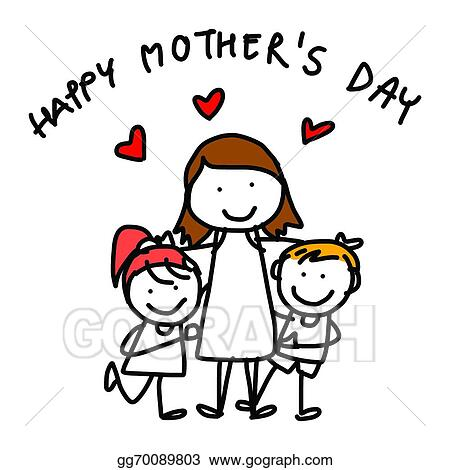 vector art hand drawing cartoon concept happy mother s day rh gograph com happy mother's day clip art black and white happy mothers day clip art 2016