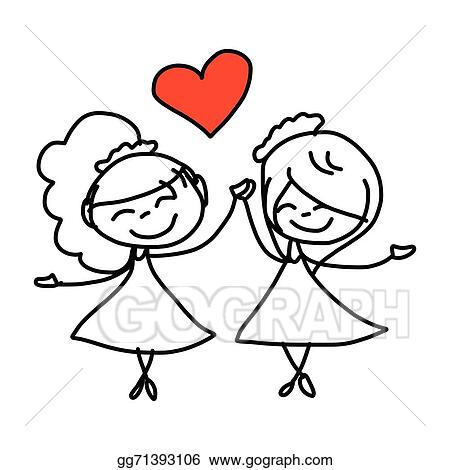 Vector Stock Hand Drawing Cartoon Happy Couple Wedding Clipart Illustration Gg71393106 Gograph