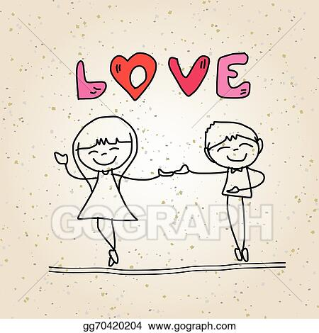 Vector Illustration Hand Drawing Cartoon Happy Wedding Eps Clipart Gg70420204 Gograph