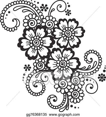 Vector Stock Hand Drawn Abstract Henna Mehndi Flower Ornament