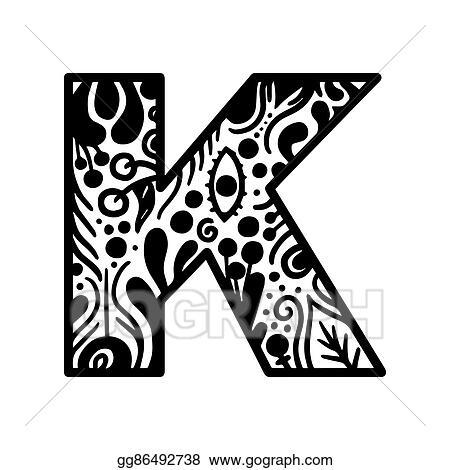 Vector Stock - Hand drawn alphabet letter k vector isolated