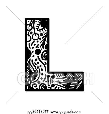 Vector Stock - Hand drawn alphabet letter l vector isolated