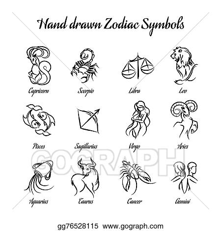 Vector Art Hand Drawn Astrological Zodiac Symbols Or Horoscope